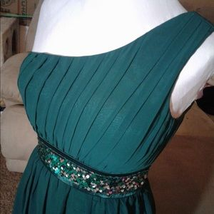 Ever after forest green prom dress